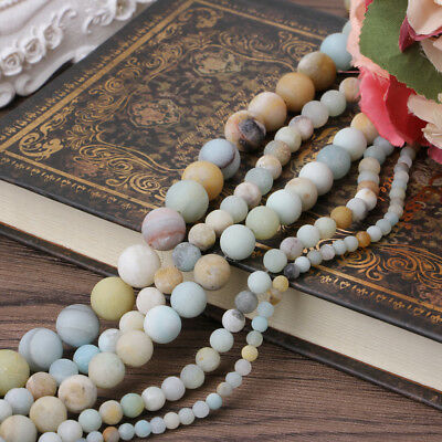 4mm 6mm 8mm 10mm 12mm Natural Amazonite Stone Round Loose Beads Jewelry Making