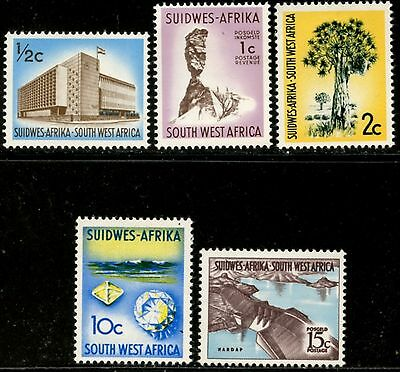 SOUTH WEST AFRICA Sc#315-6, 319, 326-7 1968-72 Defins Wmk. 359 Mint Hinged