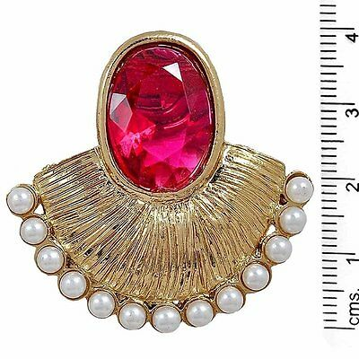 Indian Bollywood Designer Gold Plated Pink Stone Pearl Earring For Women