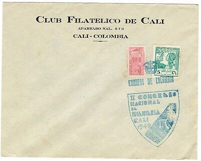 1949  COLOMBIAII International Congress of  Engineering in Cali cachet on cover