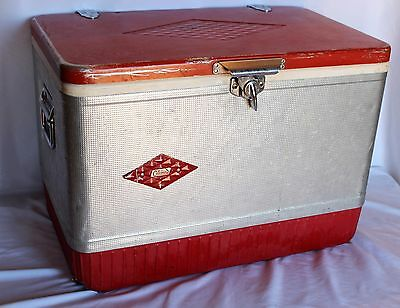 Vintage Red & Silver Coleman Cooler Ice Chest Diamond Logo