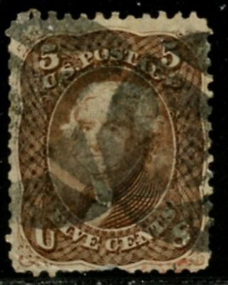 US Sc#76 1863 5c Jefferson Brown No Grill Used