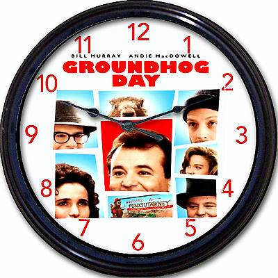 Groundhog Day Bill Murray Movie Wall Clock Andie MacDowell Punxsutawney comedy