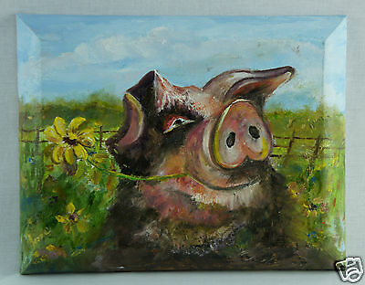 "Pig in the Field - Original Oil Painting by Local Artist - 14"" x 11"" Adorable!!"
