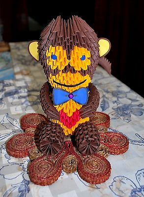 3D origami monkey handmade toy gift collective 7''