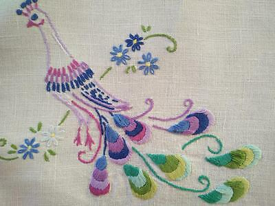 Vintage Stylised RETRO Peacock Hand Embroidered Centrepiece/Mat