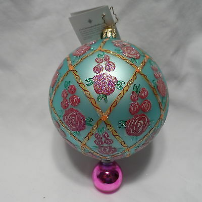 """Radko 2002 """"ROSE GLOW"""" RARE Pink Roses on Blue Double Ball Ornament  NEW w/Tag"""