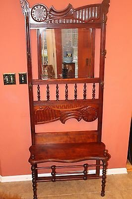 Rare Victorian Eastlake Antique 1880's Hand Carved Hall Stand, Bench, Mirror