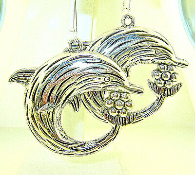 "New  Oversized  3-D  DOLPHIN  Textured Silver-tone Dangle Earrings  2-3/4"" long"