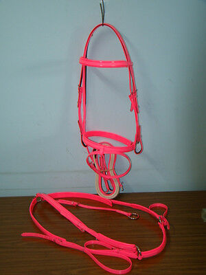 Hanovarian Bridle, Reins and Breastplate Set - Hot Pink PVC