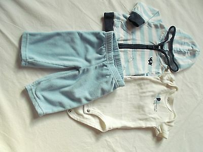 Carter's Baby Boy Blue and White 3pc Hoodie Set Size newborn GUC