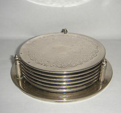 Six Coasters Etched Design Silver Plate with Holder - Barware Tableware