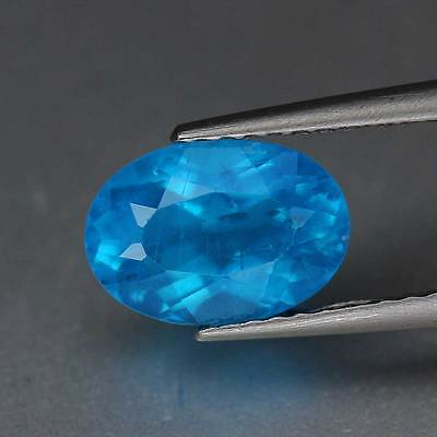 "1.56cts""Madagascar""Neon Blue"" Natural Apatite"" Oval Cut"" PR1344"