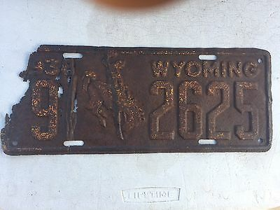 "1938 Wyoming License Plate "" 9 2625 "" Wy 38 Can Be Restored  Bucking Bronco"