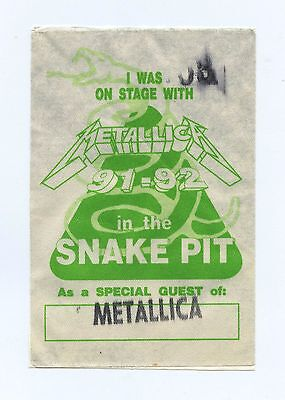 Metalica Backstage Pass 1991-92 Snake Pit Tour
