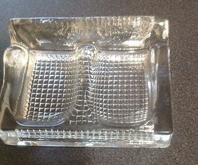 Glass Double Ink Well and Pen Rest Antique E.C. English