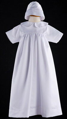 New White Infant Baby Girl / Boy Satin Baptism Christening Robe Gown with Bonnet