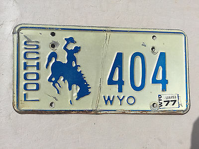 "1977 Wyoming School License Plate "" 404 "" Wy 77 Bus Pupil Transport Wyo Bronco"