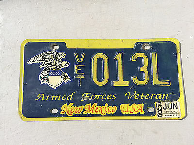 """New Mexico Armed Forces Veteran License Plate """" Vet 013L """" Nm Army Navy Usmc"""