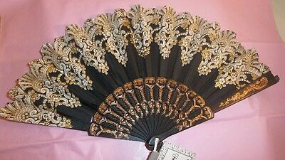 New Spanish Style Church*Dance Party *Wedding Gold Glitter Folding Hand Held Fan