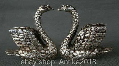 Miao Silver A pair of beautiful white swans sweethearts lovers statue sculpture