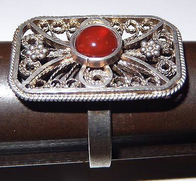 Antique Chinese Silver Filigree Ring Carnelian Stone Cabochon Adjustable