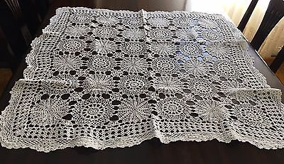HAND CROCHET White Square Tablecloth 80x80cm & 15 Assorted Doilies - Exc Cond