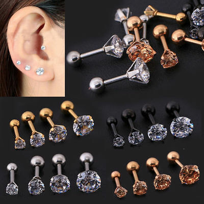 2pc CZ Prong Tragus Cartilage Piercing Stud Earring Ear Ring Stainless Steel New