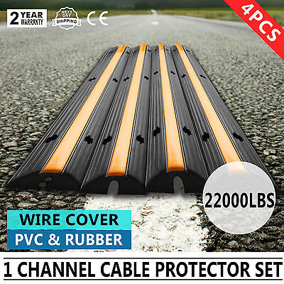4pcs 1-Channel Rubber Electrical Wire Cover Cord Black Ramp Snake BEST PRICE