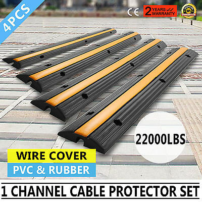 4pcs 1-Channel Rubber Electrical Wire Cover Vehicle Yellow Lid Single Channel