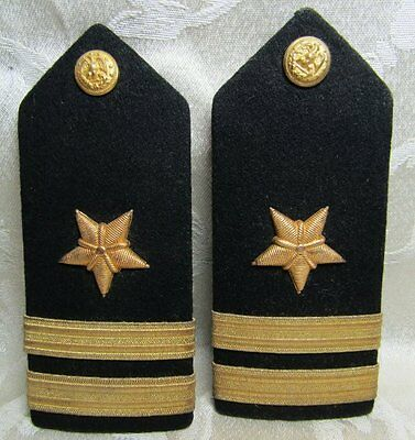 WWII Gold Bullion On Wool Navy Naval Officer Shoulder Boards Set by Vanguard