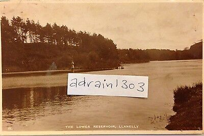 Llanelly (Llanelli) RPPC 1940s The Lower Reservoir Publ WHS Man Fishing WWII