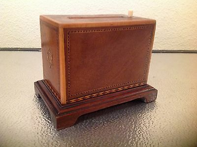 Vintage Wooden Inlaid Smokers Cabinet / Cigarette Dispenser Ashtray Box