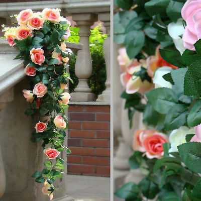7Ft Rose Flower Ivy Vine Silk Flowers Hanging Garland Wedding Home Floral Decor