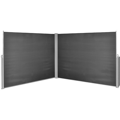 Black Side Awning Corner Retractable Outdoor Garden Patio Sunshade Screen 1.8X6m