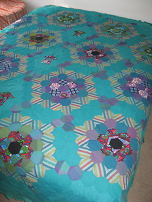Vintage QB KB  PATCHWORK QUILT Hexagon Hand Stitched 70s Retro FABRIC UNFINISHED