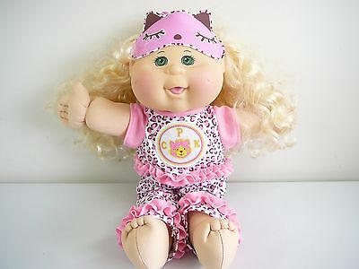 Cabbage Patch Doll Genuine Cpk Doll Bedtime Pj  + Sleeping Mask Blonde Hair 2014