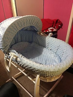 Perfect Condition clair de lune Moses basket and stand BLUE