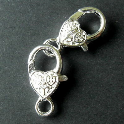 1 10 20 50 SILVER PLATED HEART SHAPE LOBSTER CLAW CLASPS FINDINGS 25x13mm