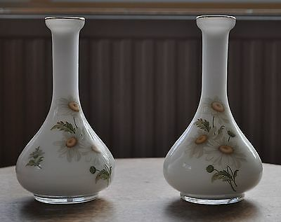Pair of Vintage Glass Vases, Floral pattern on White Glass, 30's to 40's