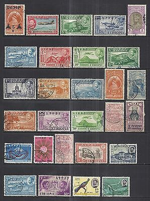 ETHIOPIA  3.5 PAGES USED LOT  1909 to MODERN ISSUES
