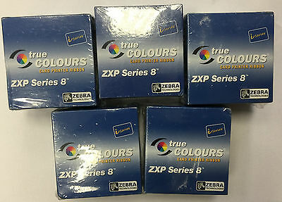 ZEBRA (SET OF 5) i-series CARD PRINTER RIBBON ZXP SERIES 8 YMCK 625 IMGS x 5 pcs