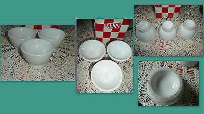 3 rares PETITS BOLS ANCIENS BLANCS EPAIS A PIEDS CYLINDRIQUES - OLD FRENCH BOWL