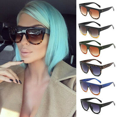 Shadow Shield Flat Top Oversized Women Ladies Men Designer Celebrity Sunglasses