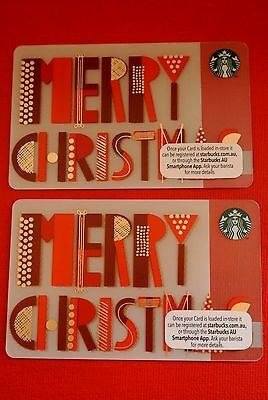 STARBUCKS CARDS - (Merry Christmas Australia Collection Gift Cards X 2)