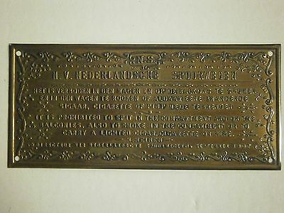 Brass Tone Metal Plaque It Is Prohibited To Spit In The Compartment