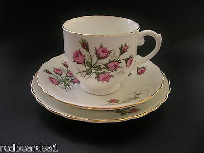 Kent Pink Roses Vintage Bone China Trio Tea Cup Saucer Plate England c1950s