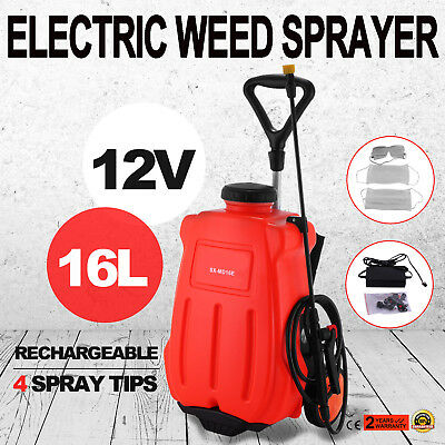 16L 12V Electric Backpack Tank And Trolley Sprayer Weed Garden 4 Spray Tips