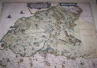 FINE 1654 SCOTTISH Hand Coloured MAP of S W SCOTLAND Mid Galloway By J BLAEU