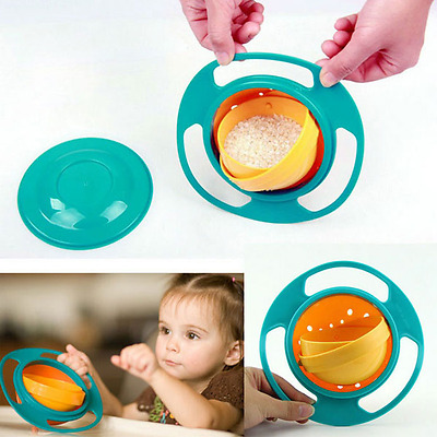 Non Spill Feeding Gyro Bowl Dishes 360 Rotate w/ Lid Cup Baby Avoid Food Spill